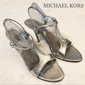 JUST IN🖤 $310 MK silver metallic leather Sandals